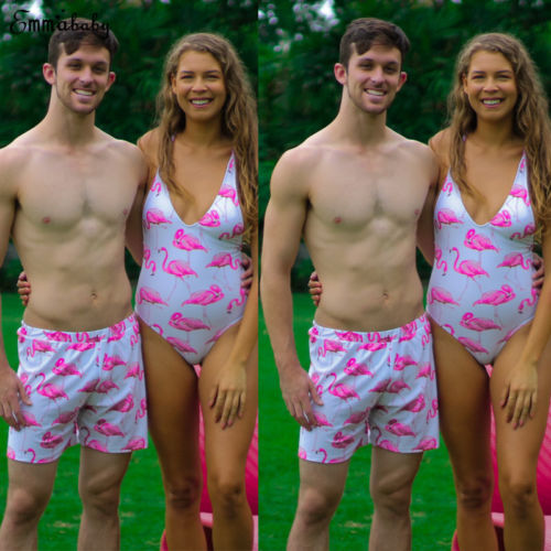 81658283a1 2018 New Couple Bathing Suit Flamingo One Piece Swimwear Dad Mom Daughter  Son Swimsuit Man Women Kid Swimming Chidlren Beachwear-in Body Suits from  Sports ...