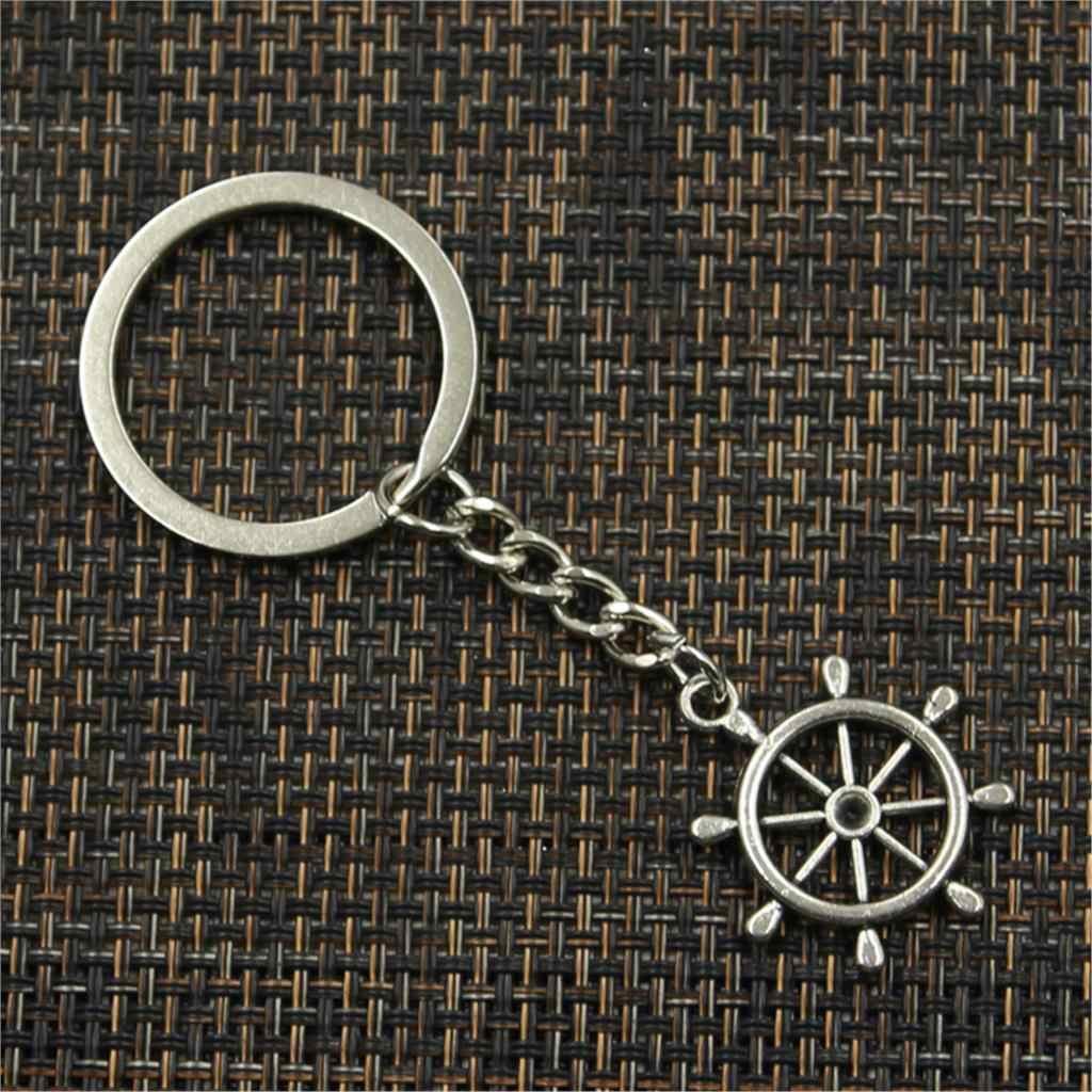 Novos homens da moda de alta qualidade chaveiro carro chaveiro DIY suporte de metal roda do navio leme rudder pingente corrente de prata para o Presente