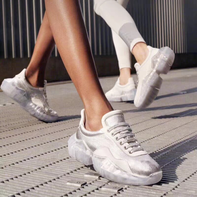 Fashion 2019 Spring Crystal ins Net Hot Shoes Woman Rhinestone Women Casual White Shoes Transparent platform Shoes Zapatos Mujer 5