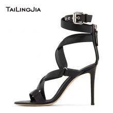 Latest Womens Heeled Black Strappy Sandals for Woman Ankle Buckle Strap High Heels Stiletto Heel Ladies Summer Shoes Large Size princess sweet lolita shoes loliloli yoyo japanese design custom large size black flock buckle strap high heeled shoes 9110