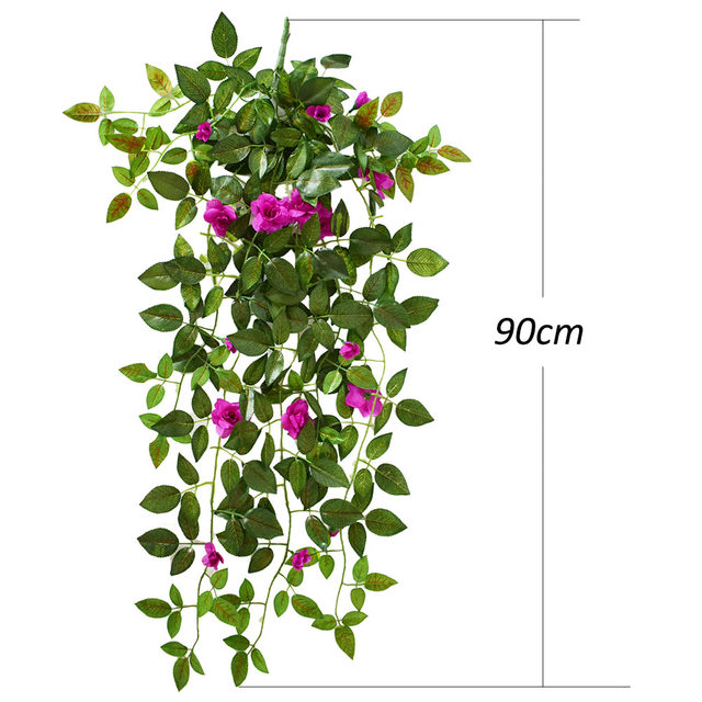 Artificial Flowers Silk Rose Vines For A Wedding Home Garden Office Party  Arch Bridge Wall Decorations Fake Plastic Plants White