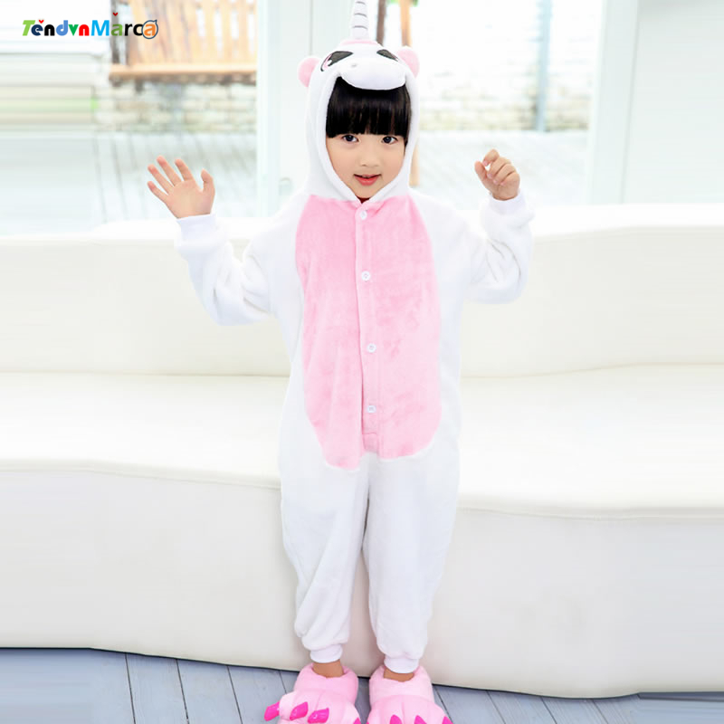 Christmas Costumes Girl Children kigurumi infantil Kids Animal Flannel Cartoon Pajamas Sleepwear Cosplay Onesie Unicorn Stitch christmas rainbow unicorn animal family onesie pajamas