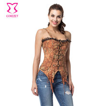 Brown Denim Buckled Zipper Swallowtail Corset With Straps Gothic Corsets And Bustiers Steampunk Clothing  Halloween Costumes