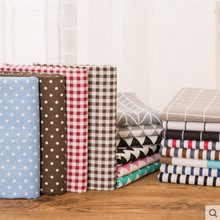 1 meter cotton linen fabric with plaid stripe round dot cute owl print curtain pillow bag table cloth T496