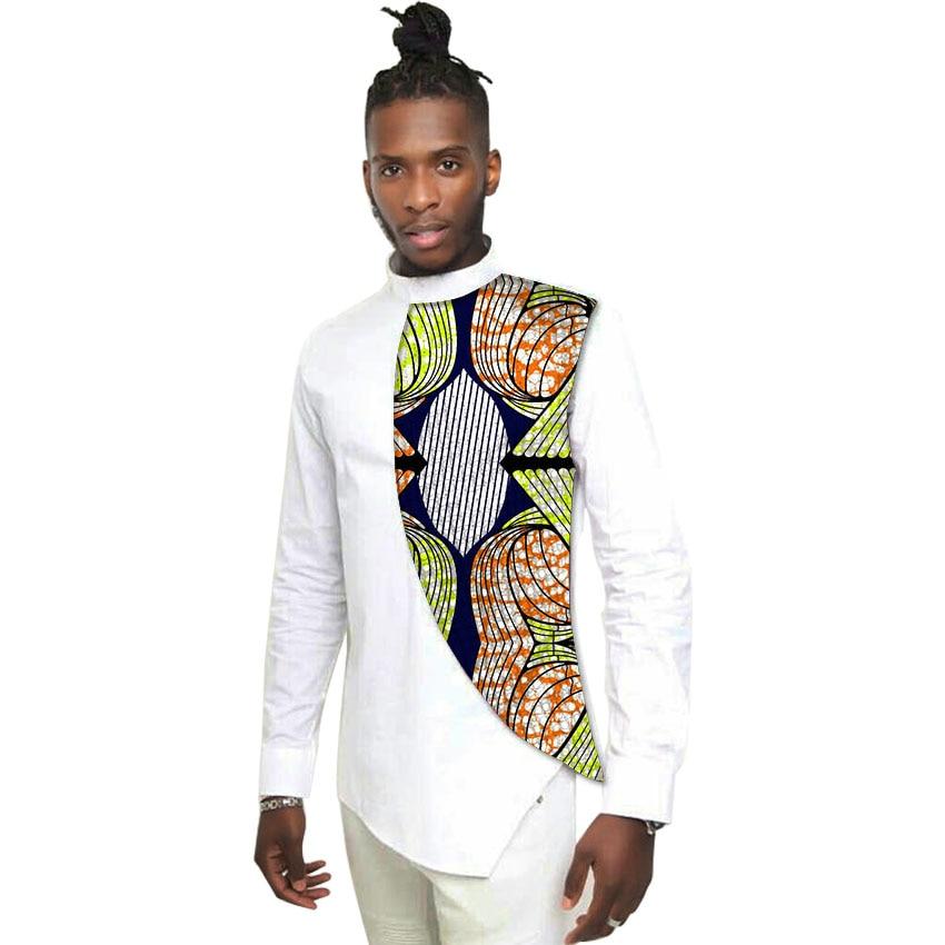 ea97379625 Personalidade projeto tops costume privado africano roupas de manga  comprida camisa de algodão branco e impressão batik patchwork roupas dashiki