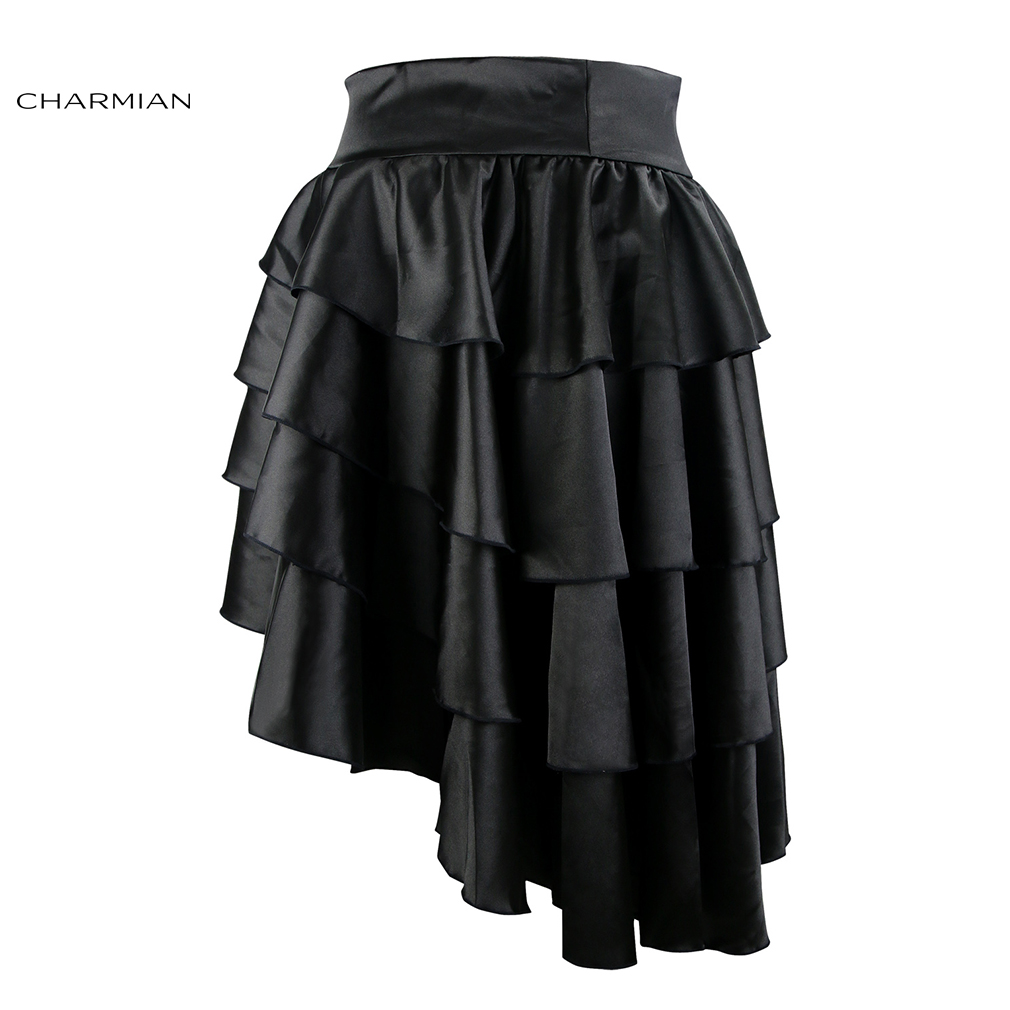 Charmian Women's Victorian Gothic Steampunk Skirt Sexy Party Black Satin  Ruffles Vintage High Low Brown Skirt with zipper-in Skirts from Women's  Clothing ...