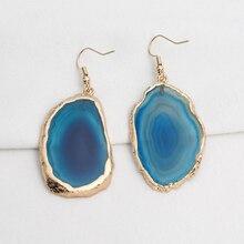 1 Pair Agates Cut Earrings For Earring Slice Natural Stone Drop Gold Big Long Women
