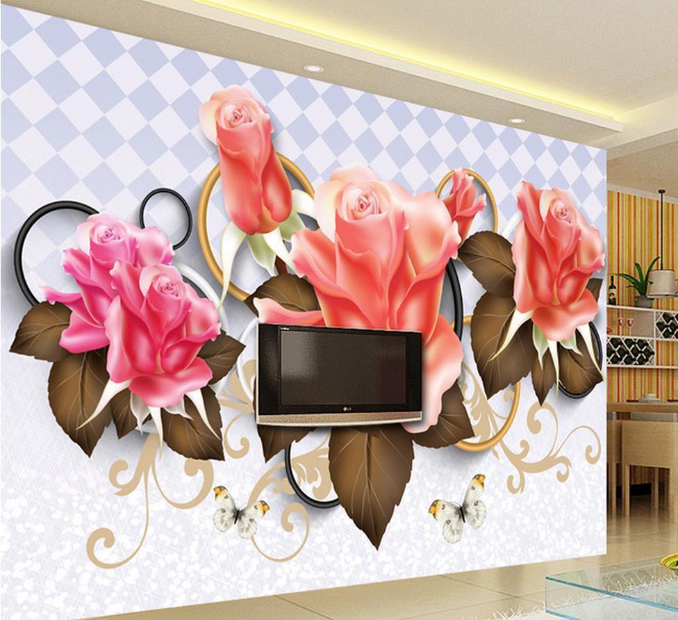 3d wall murals hd rose wallpaper high end mural for tv for High end wallpaper