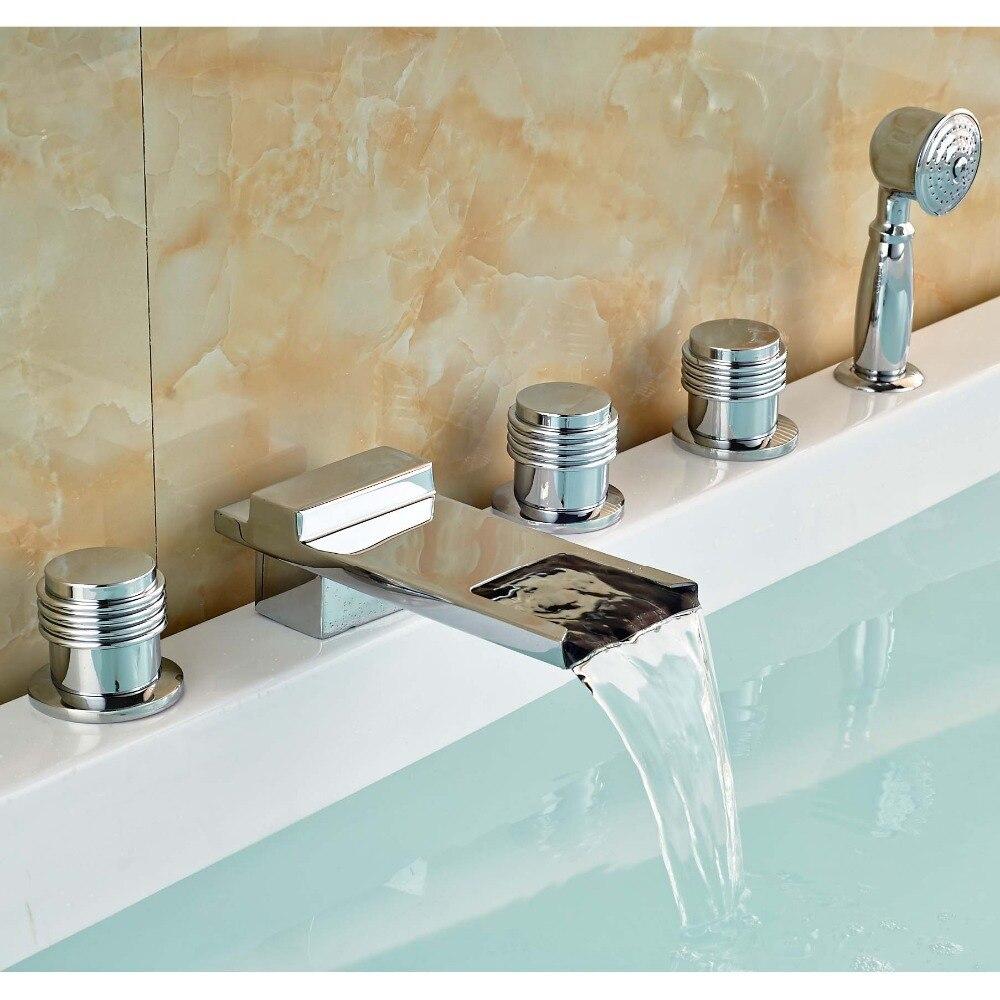 Modern Chrome Finish Waterfall Bathroom Bathtub Faucet Mixer Tap Set