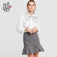 Womens Tops And Blouses White Blouse Sweet Bowknot Comfortable Shirt Camisa Xadrez Feminina Manga Longa Blusas