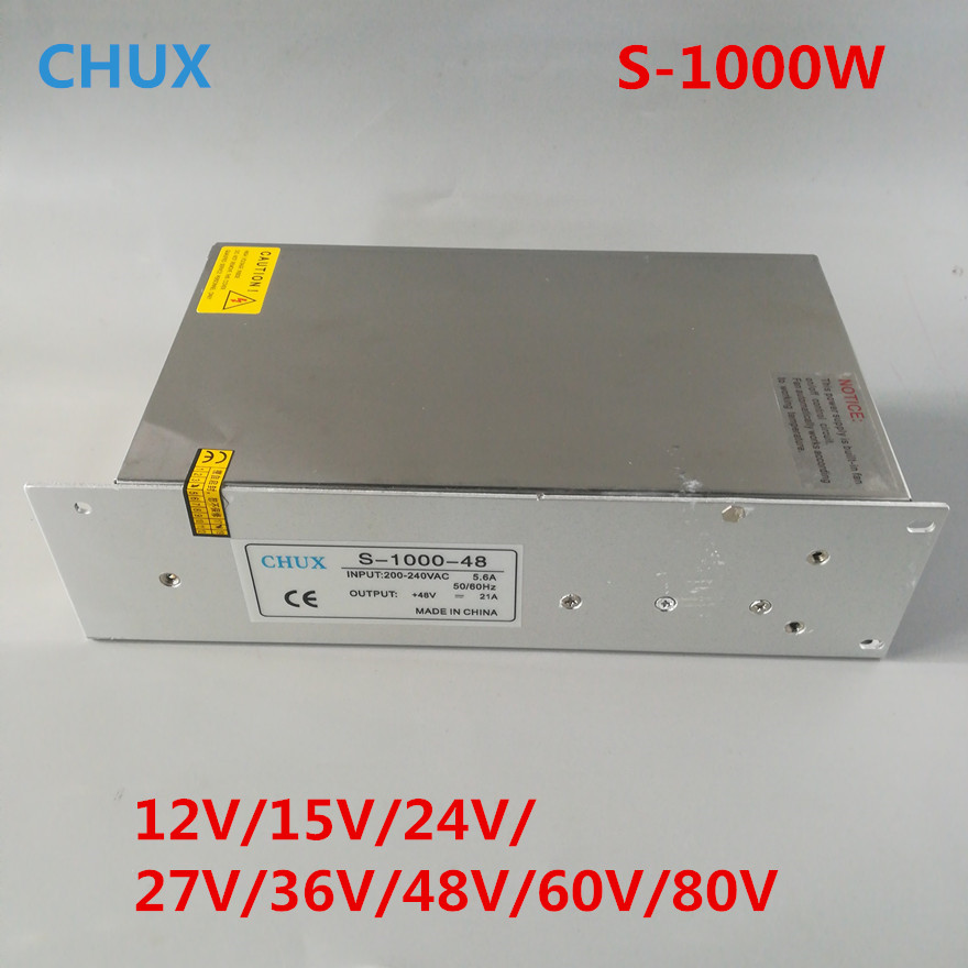 80V 60V Switching Power Supply 1000W 12V 15V 24V 27V 36V 48V Single Output ac dc converter for Led Strip,AC110V/220V Transformer
