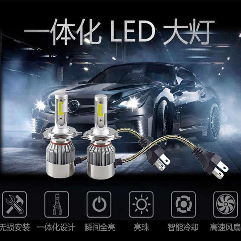 2 шт. Автомобильный светодиодный фары C6 яркий ближнего и дальнего света лампы для передних фар H7/H1/H4/H3/H8/H9/H11 светодиодный передний фонарь комплект стайлинга автомобилей