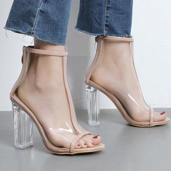 Summer Women Sandals PU Transparent ZIP Square heel 11CM High Heels Pumps Lady Sandal woman Shoes