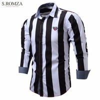 S ROMZA Stylish Men Shirts Slim Fit Button Down Career Shirts Formal Tops Turn Down Collar