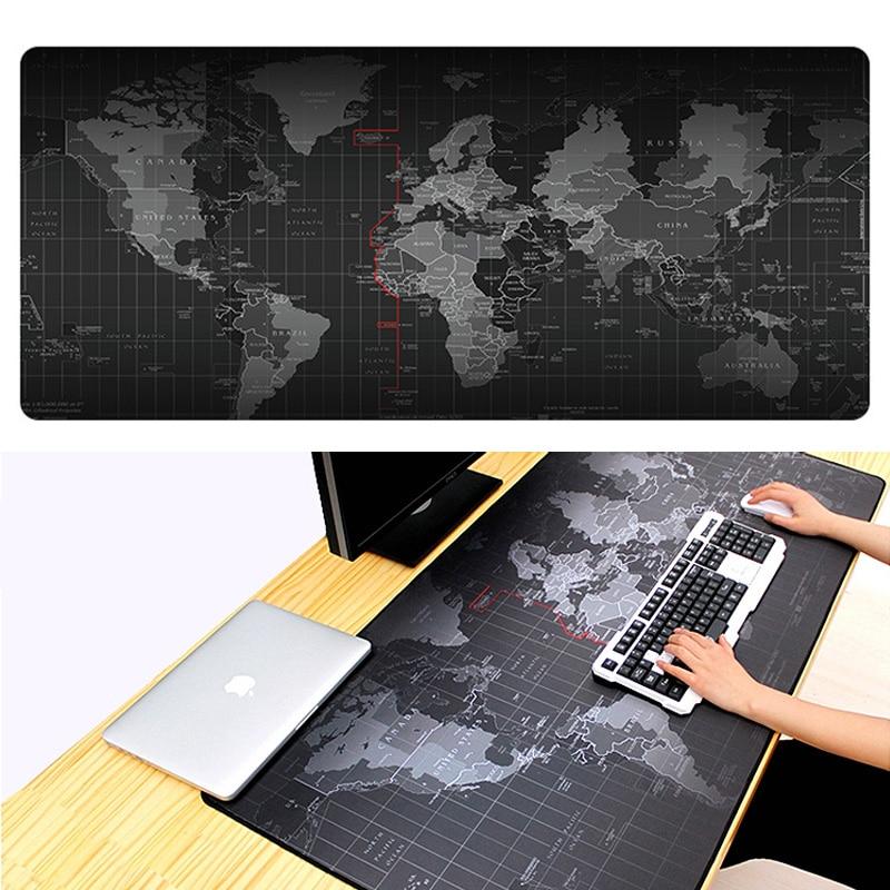 Vente chaude Grande Carte Du Monde Gaming Mouse Pad Lockedge Caoutchouc Naturel Tapis De Souris Pour Ordinateur portable Clavier Pad de Bureau Pad