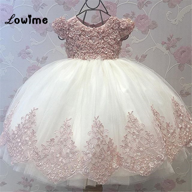 Little Bride Puffy Pink Lace First Holy Communion Flower Dress Kids Beauty Pageant Ball Gowns