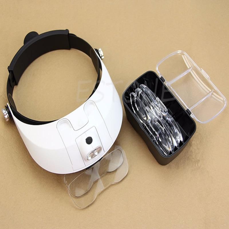 LED Lamp Light Headband Headset Head Jeweler Magnifying Glass Loupe Jewelry Tool