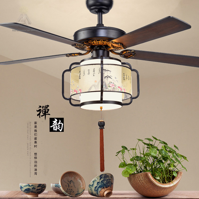 Ouruiju Black Vintage Ceiling Fan With Lights Remote Control Ventilador De Techo 220 Volt Bedroom Light Lamp E27 Led