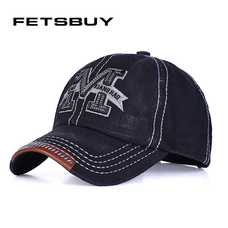 [FETSBUY] M Washed Denim Snapback Hats Autumn Summer Letter M Men Women Baseball Cap Sunblock Beisbol Casquette Adjustable Caps delicate alloy body chain for women