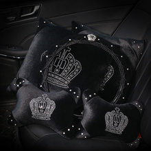 Crystal Crown Plush Car Seat Interior Accessories Steering Wheel Covers Headrest Neck Handbrake Gear Shift Cover все цены