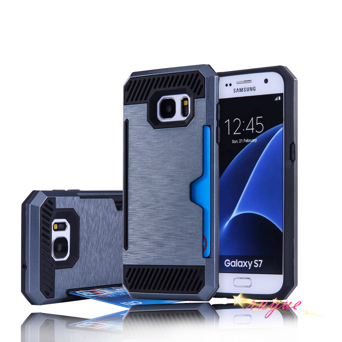 Fashion armor can be inserted card purse-style PU mobile phone protection shell for mobile phone Galaxy 7 protection Sumsung