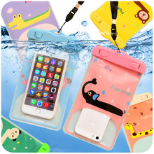 Cartoon Animal PVC Waterproof Mobile Phone Bags For iPhone 6 7 for Samsung S6 S7 for Huawei under 5.5 inch Pouch with Neck Strap