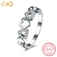 hot deal buy shd 925 sterling silver rings women five heart pave setting crystal ring fashion 925 silver jewelry women wedding bands