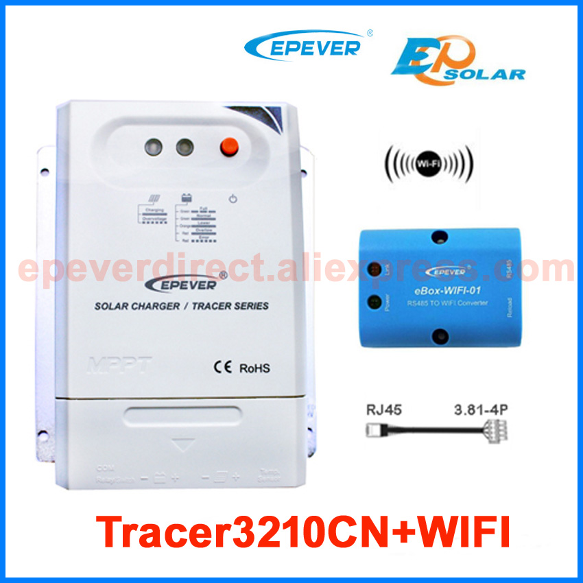 Power bank solar charger controller EPEVER Tracer3210CN wifi eBOX Phone APP Android system 12V/24V auto work EPsolar Brand solar charger controller manufactures epever epsolar ls3024b 30a 30amps wifi ebox phone android system app application