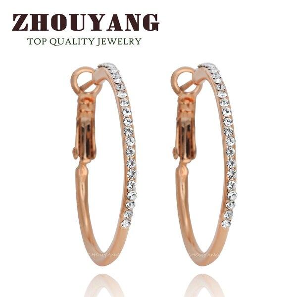 Классические большие золотистые серьги-кольца с кристаллами Ruond для женщин, австрийский кристалл, высокое качество ZYE307 - Окраска металла: Покрытие из розового золота