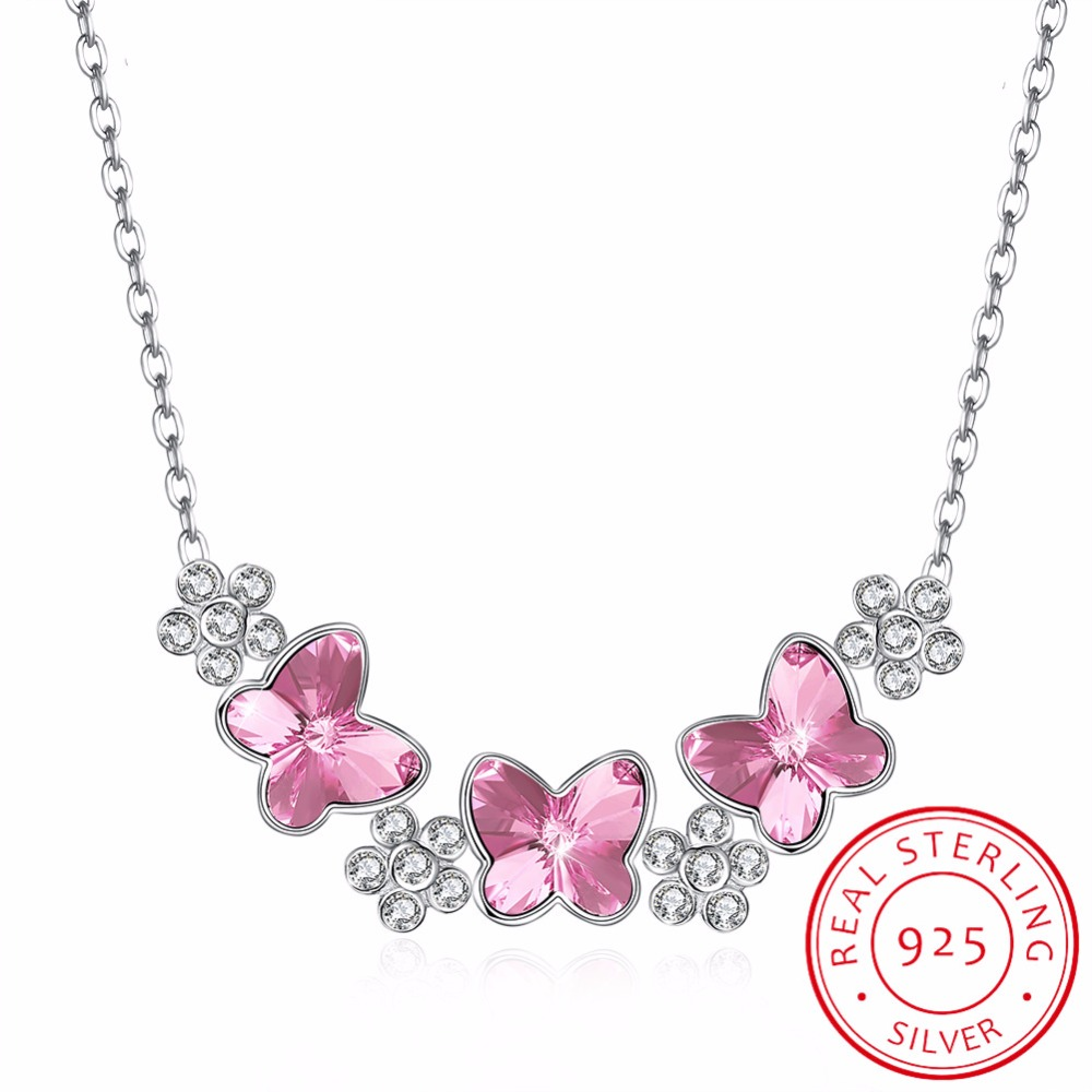 LEKANI Crystals from Swarovski Necklace Women Pendants S925 Sterling Silver Jewelry Blue Pink Butterfly Austrian Rhinestone New