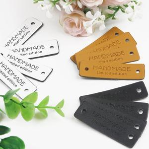 12/24/36/48pcs/lots Handmade Limited Edition Pattern PU Leather Labels Tags For DIY Clothes Garment Bag Sewing Accessories