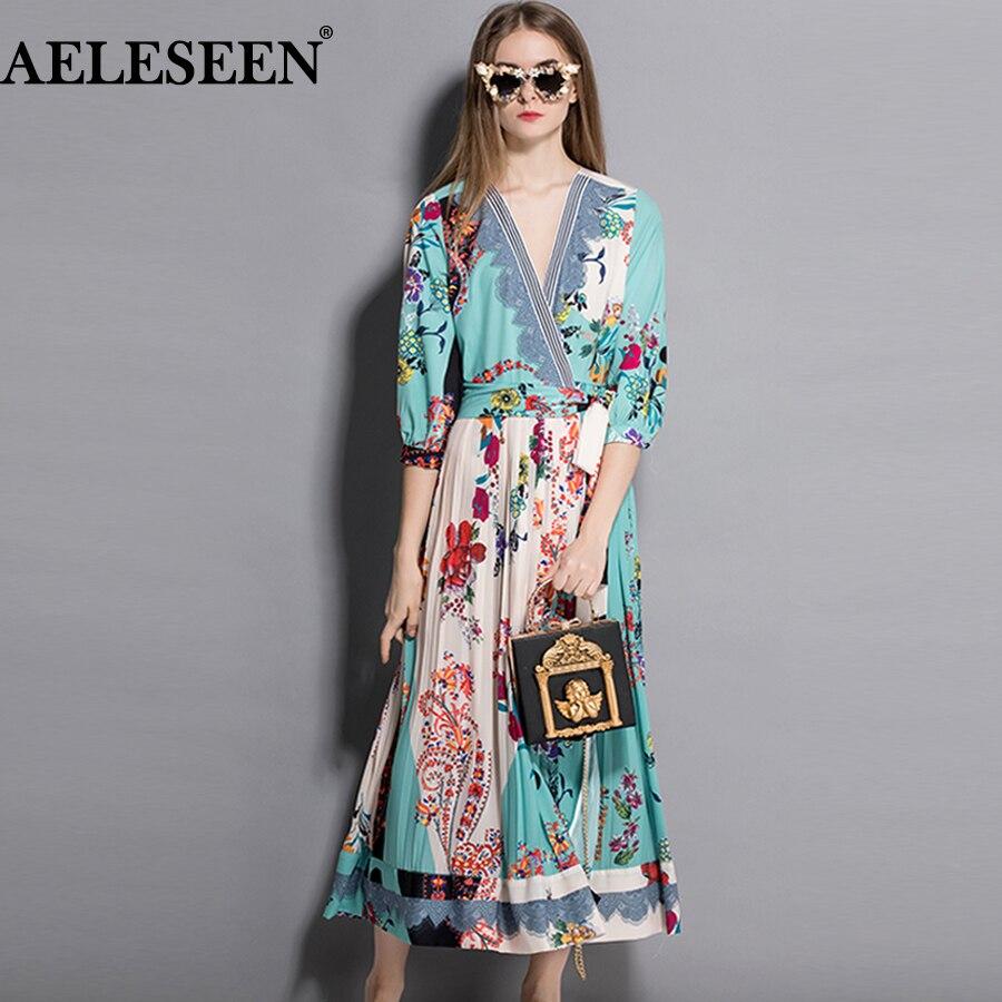 AELESEEN Luxus Frauen Lange Kleid 2018 Herbst Elegante V ausschnitt XXL Floral Striped Print Gefaltete Elegante Lange Hülse Wrap Kleid Sexy-in Kleider aus Damenbekleidung bei  Gruppe 1