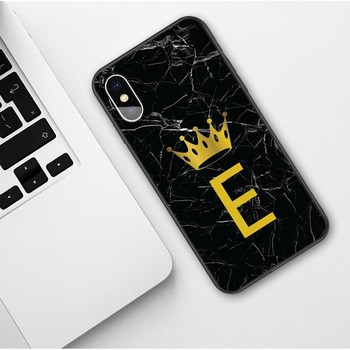 Custom name Letter Monogram Black Marble Gold Crown Soft Phone Case For iphone 4