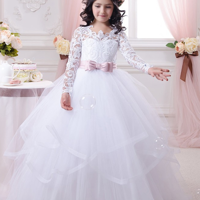 Girl Dress Bow Double Lace Performance Birthday Tutu trailing Princess Ball Gown Long Dress
