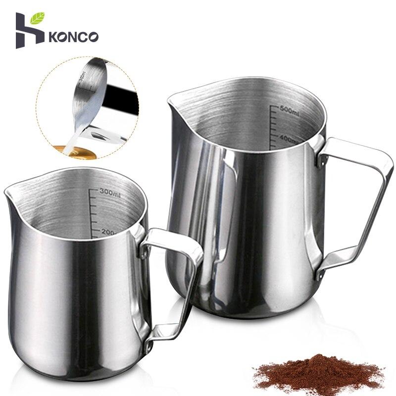 KONCO Iç Ölçekli Espresso Kahve süt köpürtme sürahisi Paslanmaz Çelik Kremalı Macchiato Cappuccino Latte Sanat Üreticisi Sürahi Fincan