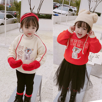 New Print Pullover Tee Plus velvet Sweatshirt Autumn Winter Kids Tops Long Sleeve Warm T shirt Girls Child Baby Clothes