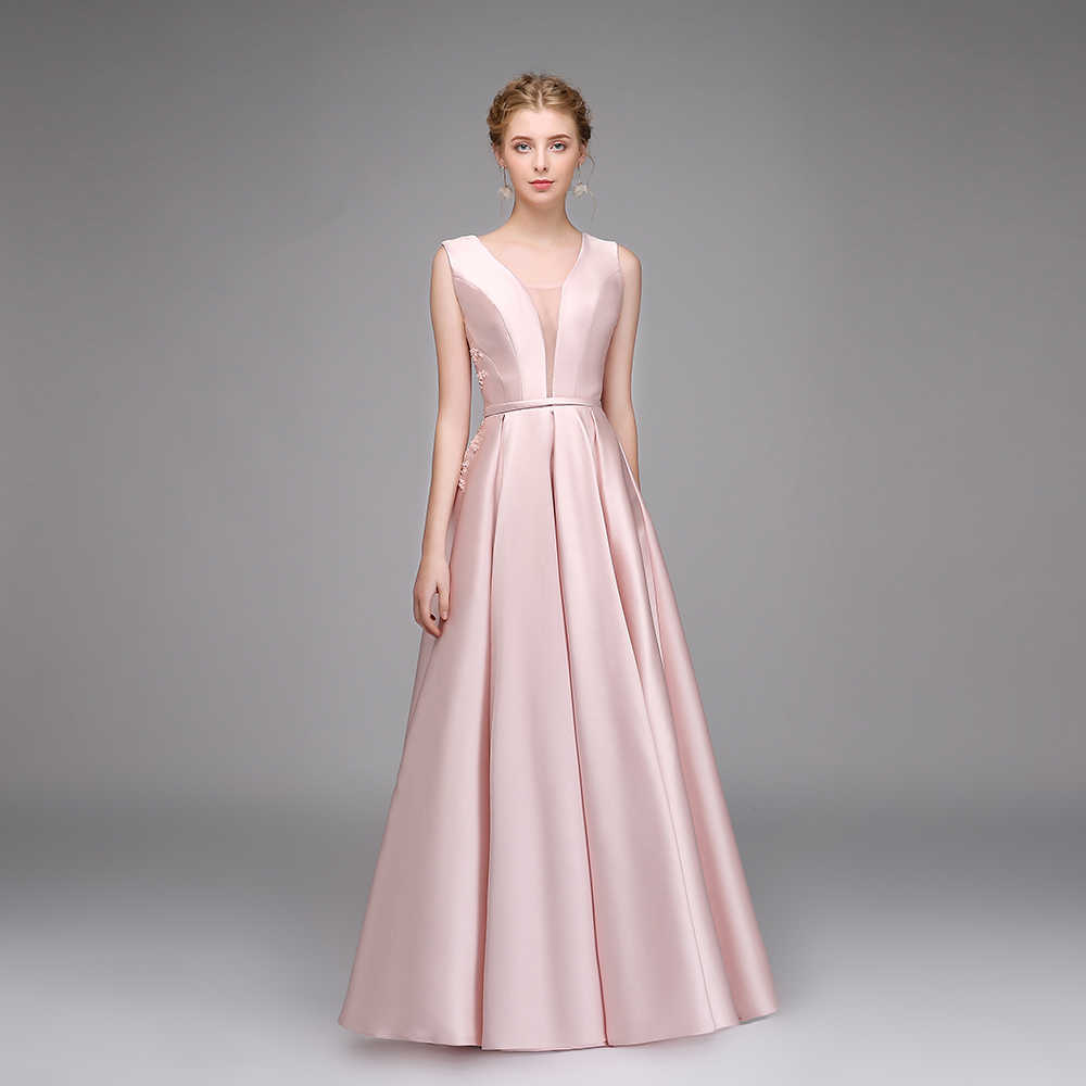 cafa8542aa SSYFashion Simple Pink Satin Evening Dress Banquet Beautiful Appliques with  Bow Long Prom Gown Robe De Soiree Reflective Dress
