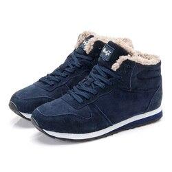 Winter Boots Men 2018 new Warm Fur Flock Casual Boots Leather Ankle Boots Men Winter Shoes Men Winter Sneakers plus size 35-46