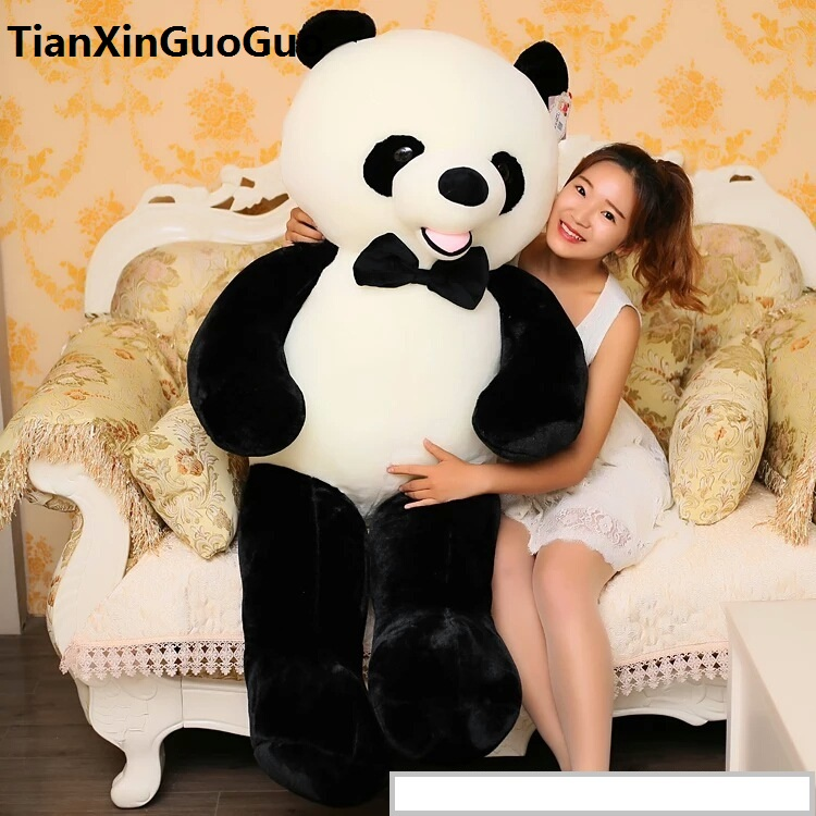stuffed toy huge 140cm bowtie panda plush toy soft doll  hugging pillow birthday gift w2965 110cm cute panda plush toy panda doll big size pillow birthday gift high quality