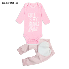 2pcs/lot Baby Girls boys Clothes Newborn Toddler Infant Autumn/Spring Cotton Rompers+ Pants Clothing Sets