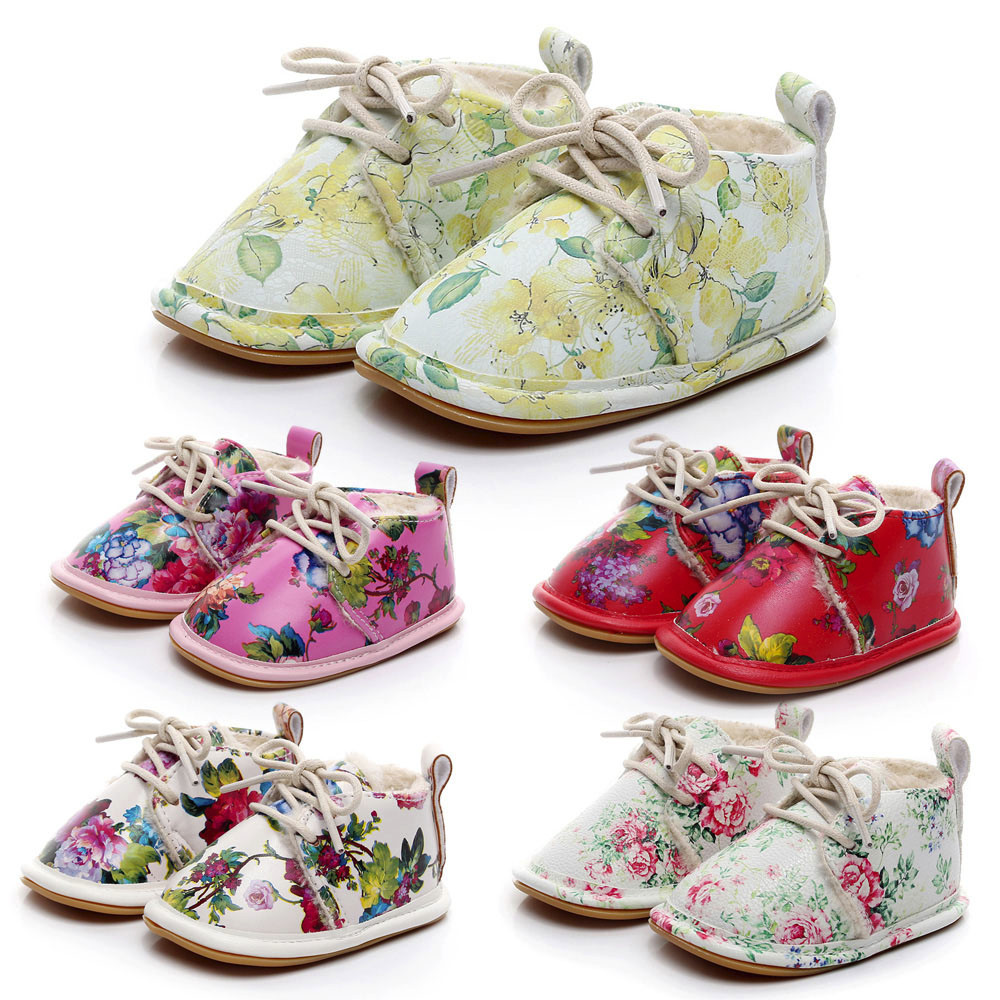 Fashion Design Newborn Infant Baby Girls Boys Floral Crib Shoes Soft Sole Anti-slip Sneakers Lace-up Baby Causal Shoes