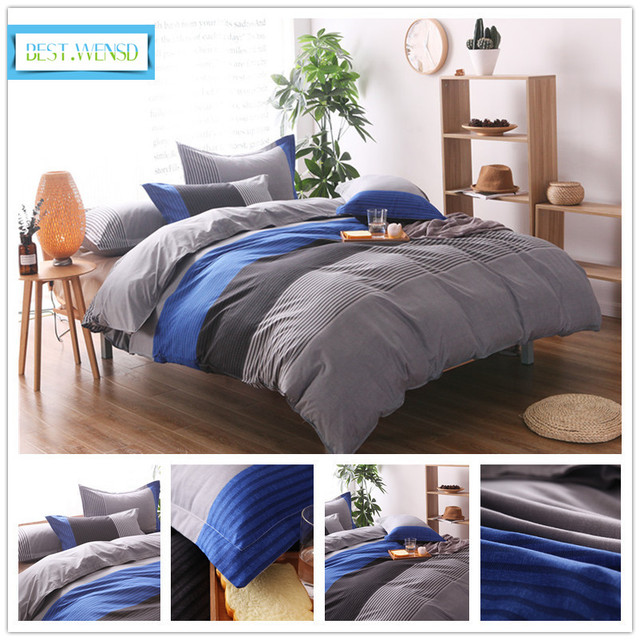 BEST.WENSD 2/3pc bedding set Queen/King /super king Size simple style Couples Duvet Cover +pillowcase bedspread-no sheets