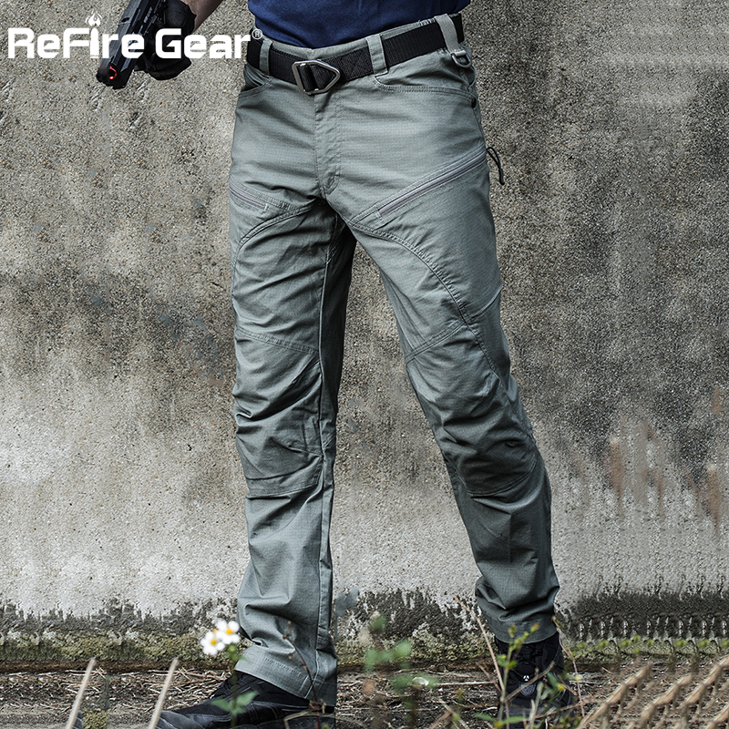 ReFire Gear Military Tactical Cargo Pants Men Special Force Army Combat Pants SWAT Waterproof Large Multi Pocket Cotton Trousers
