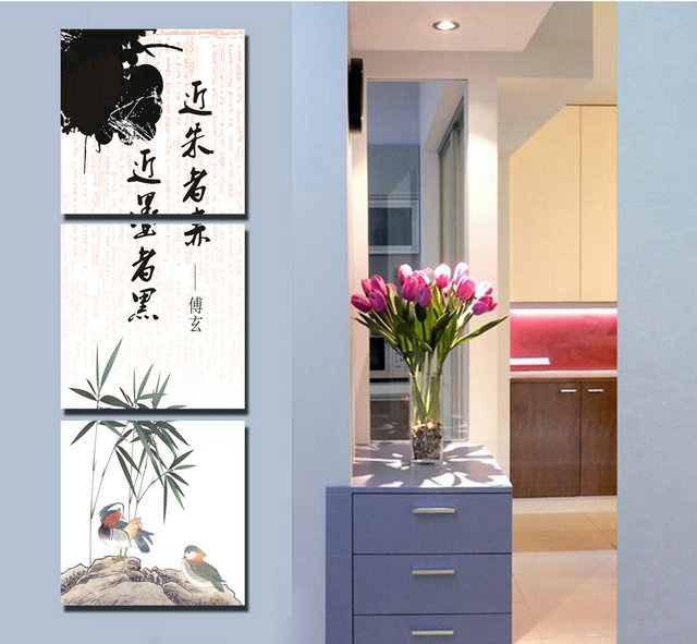 3 piece canvas wall art Chinese bamboos Bird Printed Modern wall art painting home decorations wall pictures for Living Room