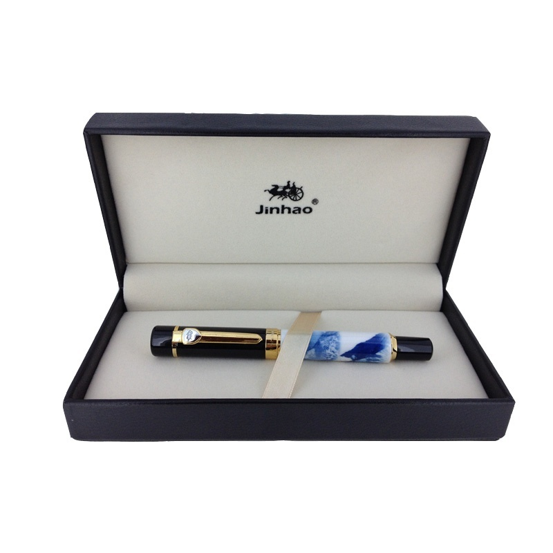 JINHAO 650 Noble Blue and White Ceramics Ballpoint Pen with 0.7mm Refill Roller Ball Pens with Original Box Free Shipping prosperity ceramics wholesale 56 gift glazed blue and white bone china tableware set grazing return