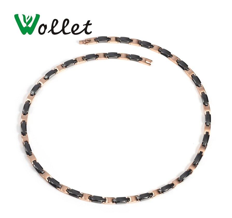 Wollet bijoux 99.999% Germanium noir en céramique collier pendentif pour femmes argent ou or Rose couleur 316L acier inoxydable santé-in Colliers chaîne from Bijoux et Accessoires    1