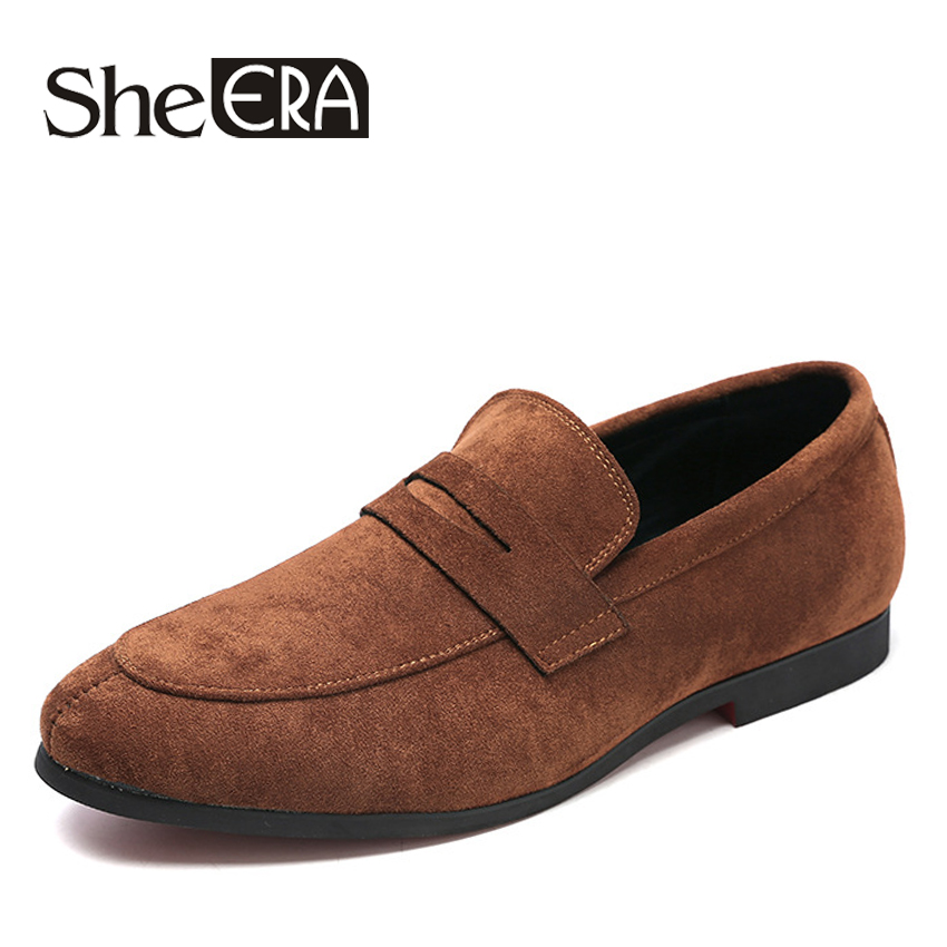 She ERA Summer Loafers for Men Casual Suede Leather Shoes Solid Color Driving Moccasins Gommino Slip On Moccasins Shoes size 48 clax men fashion shoes summer autumn british style loafers for men velvet flat driving shoes moccasins suede leather casual shoe