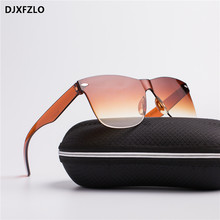DJXFZLO2018 New Transparent Sunglasses Women Vintage Colorful Retro Fashion Rimless Sun Glasses Women's Brand Eyewear UV400
