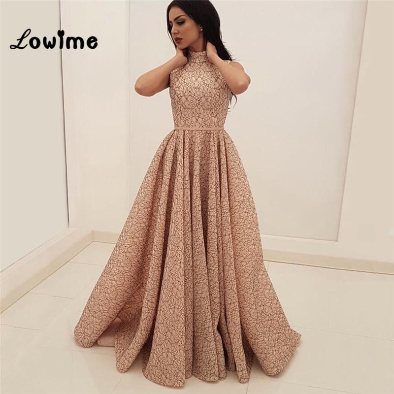 Robes De soirée rose A ligne Dubai turc arabe dentelle robes De bal Aibye robes formelles Robe De soirée 2018 Robe De soirée
