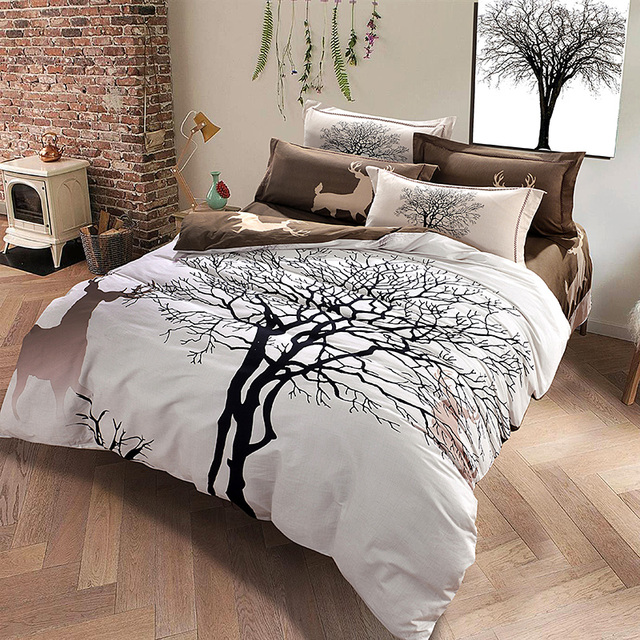 Designer Deer And Tree Bedding Set Queen King Size Brushed Cotton Textiles  Soft Warm Duvet Cover